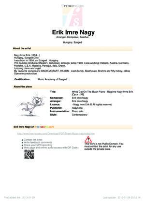 Sheet Music Erik Imre Nagy - White Cat On  The Black Piano - Ragtime Nagy Imre Erik