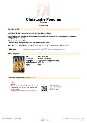 Sheet Music Valse Paris n°3