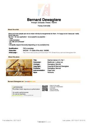 Sheet Music German dance in C, No 1