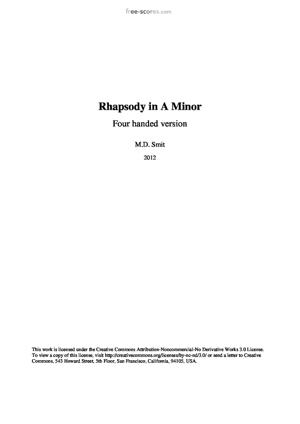 Sheet Music Rhapsody in A Minor, Four Handed Version