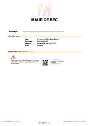 Sheet Music A l'Inconnue-C6-Prélude à June
