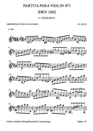 Sheet Music bach bwv1002 partita violin nº1 3 courante