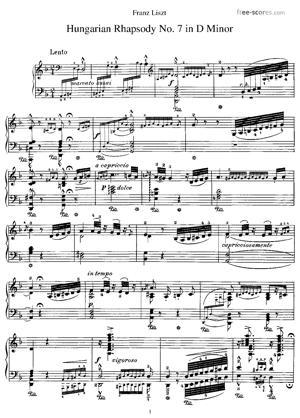 Sheet Music Hungarian Rhapsody No. 7 in D minor