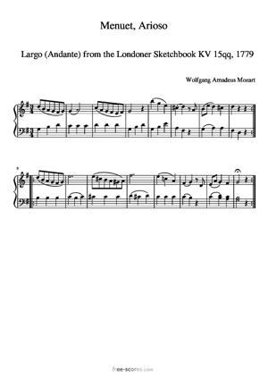 Sheet Music Simplified Menuet