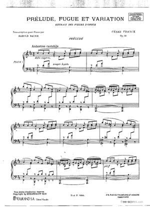 Sheet Music Prélude, Fugue et Variation