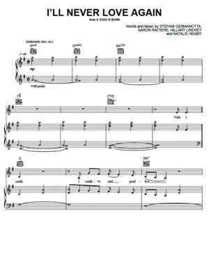 Sheet Music Lady Gaga, Bradley Cooper (From A Star Is Born) - I'll Never Love Again (From A Star Is Born)