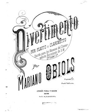 Sheet Music Divertimento for Clarinet, Flute and Piano