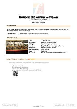Sheet Music CONGO RIVER