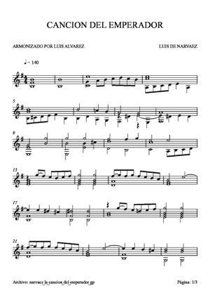 Sheet Music narvaez la cancion del emperador