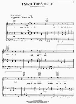 Sheet Music Bob Marley - I Shot The Sheriff Sheet Music