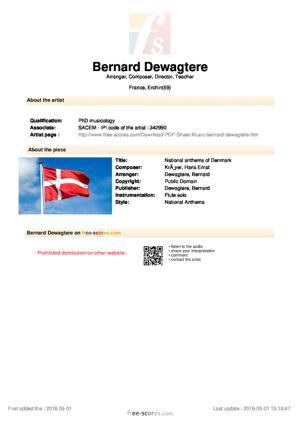 Sheet Music National anthems of Denmark