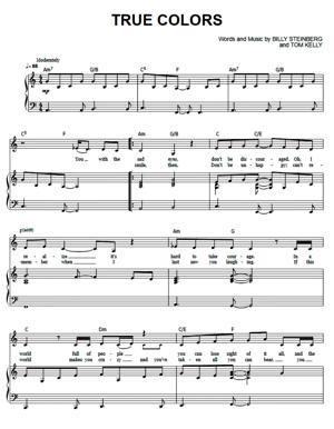 Sheet Music Cyndi Lauper - True Colors