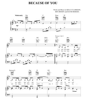 Sheet Music Kelly Clarkson - Because Of You