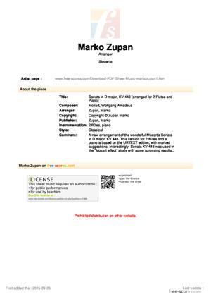 Sheet Music Sonata in D major, KV 448