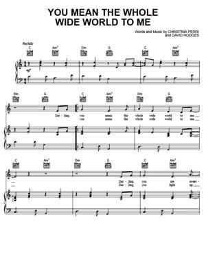 Sheet Music Christina Perri - You Mean The Whole Wide World To Me