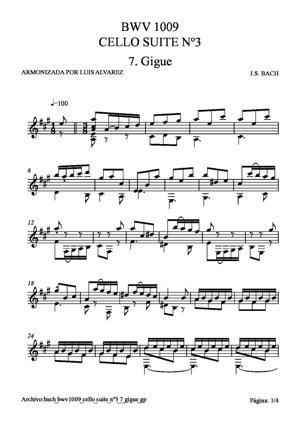 Sheet Music bach bwv1009 cello suite nº3 7 gigue