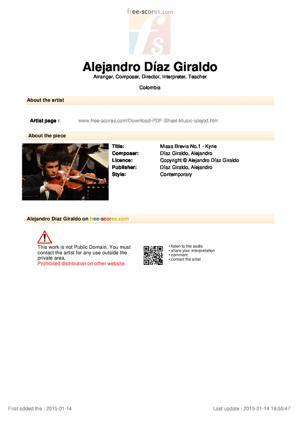 Sheet Music Missa Brevis No.1 - Kyrie