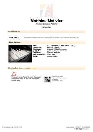 Sheet Music 01 - Prélude en Fa dièse