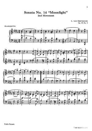 """Sheet Music Sonata No. 14 """"Moonlight"""""""