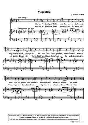 Sheet Music Wiegenlied
