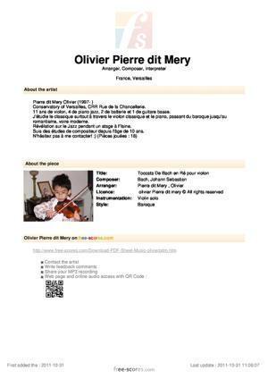 Sheet Music Toccata De Bach en Ré pour violon