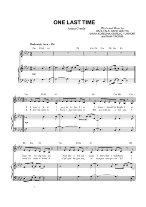 Sheet Music Ariana Grande - One Last Time