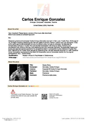Sheet Music Carlos Enrique Gonzalez - Gypsy Song