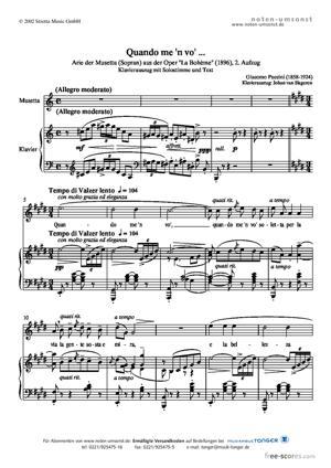 Sheet Music Musetta : Quando me 'n vo'
