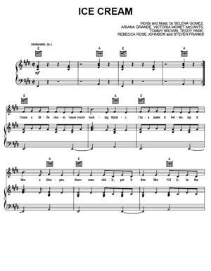 Sheet Music BLACKPINK - Ice Cream (ft Selena Gomez)