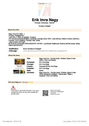 Sheet Music Nagy Imre Erik - Csukás István :Children Opera  Finale Ultimo -Choir  and Soloist