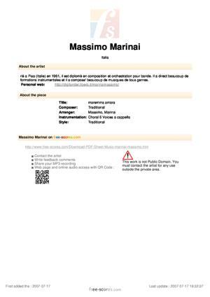 Sheet Music maremma amara