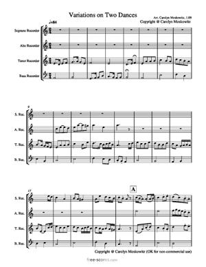 Sheet Music Variations on Two Dances, SATB Recorders