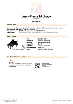 Sheet Music SUN SET (BIS)