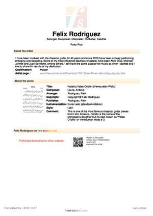 Sheet Music Natalia (Valse Criollo)
