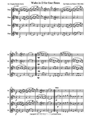 Sheet Music Seven Waltzes for Four Flutes