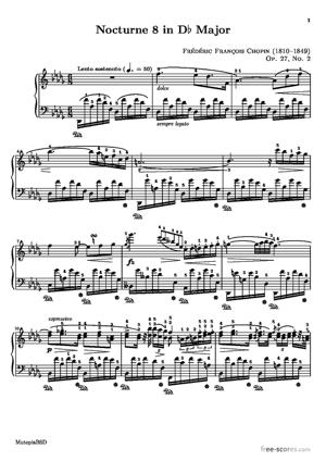 Sheet Music Nocturne 8 in Db Major