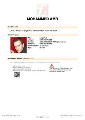 Sheet Music Longa Riad