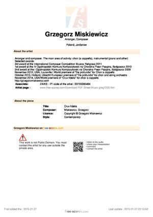 Sheet Music Grzegorz Miskiewicz - Crux fidelis