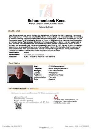 Sheet Music KV 525 Serenade part 1
