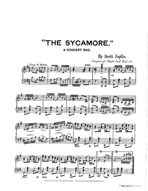 Sheet Music The Sycamore: A Concert Rag