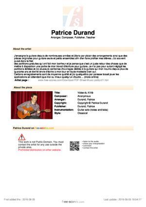 Sheet Music Valse du XIXè