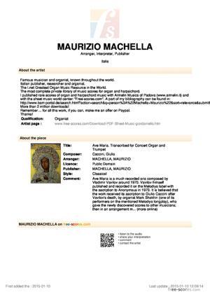 Sheet Music Ave Maria. - Vladimir Vavilov composer!- Transcribed for Concert Organ and Trumpet