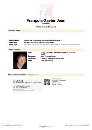 Sheet Music Bonjour Monsieur Beethoven (Partie 4)
