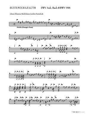Sheet Music SUITE BWV 996
