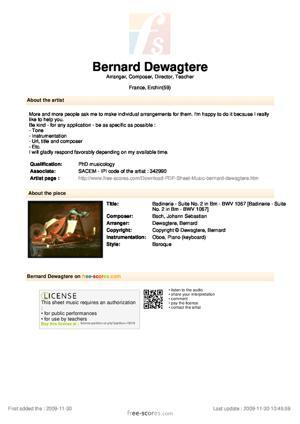 Sheet Music Badinerie - Suite No. 2 in Bm - BWV 1067