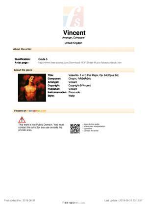 Sheet Music Valse No. 1 in D Flat Major, Op. 64