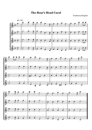Sheet Music Traditional English - The Boar's Head Carol