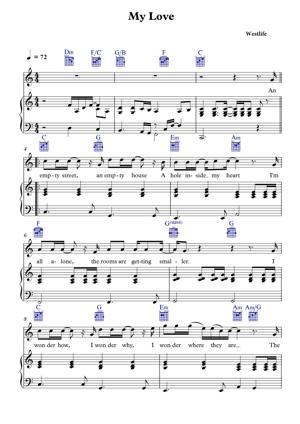 Sheet Music Westlife - My Love