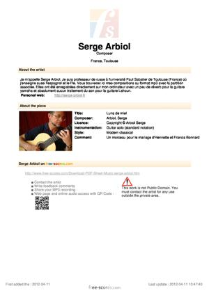 Sheet Music Luna de miel