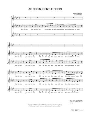 Sheet Music Ah, Robin, Gentle Robin